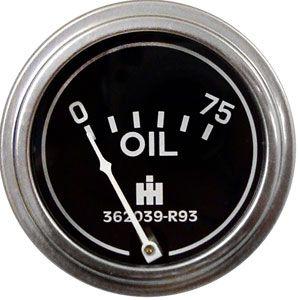 Oil Pressure Gauge (0-75 PSI (Dash Mount)) for International/Farmall Models 240, 330, 450, 650 and More