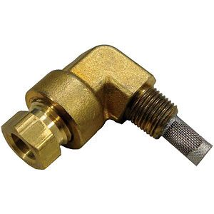 """Carburetor Elbow With Strainer (1/4"""" OD Fuel Line) for International/Farmall Models A, Super C, 330 and More"""