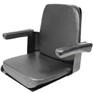 Black Vinyl Seat with Flip-Up Arms for Allis Chalmers, Case/IH, Ford Tractor Models and More