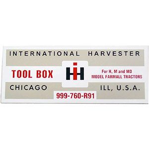 Tool Box Lid Decal for International/Farmall Models H and M