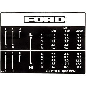 8 Speed Transmission Shift Pattern Decal for Ford/New Holland Model 2610, 3910, 4610 and More