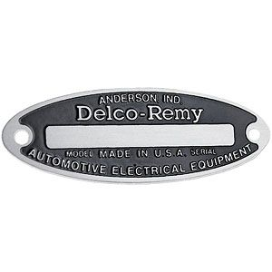Blank Starter / Generator / Distributor Tag for 6 Volt Delco Remy