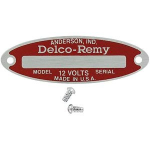Blank Starter / Generator / Distributor Tag for 12-Volt Delco Remy